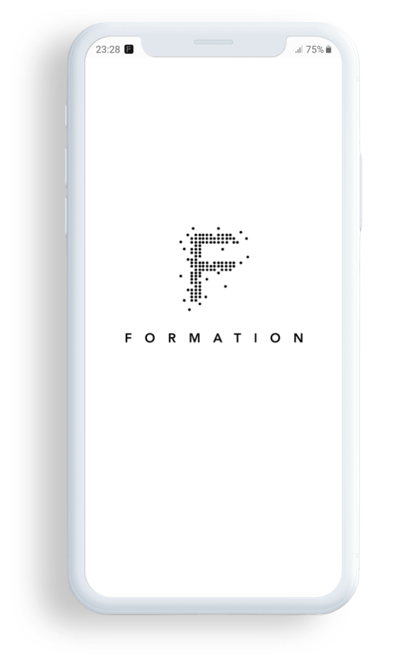 FORMATION phone showing the start of the app for workers to help them work more productively